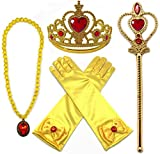 Toys : Alead Princess Belle Dress Up Party Accessories Gloves, Tiara, Wand and Necklace, Yellow, Set of 4