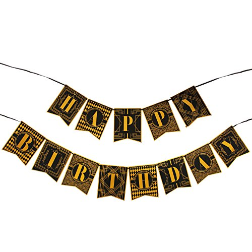 WERNNSAI 1920s Happy Birthday Bunting Banner Roaring 20s Themed Party Decoration Supplies Luxury Gold and Black Banner for Birthday Party -