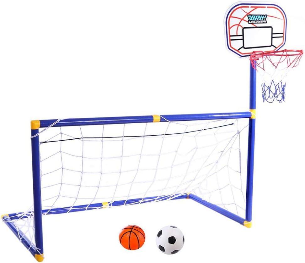 Yunt-11 Juego de portería de fútbol 2 en 1, con Canasta de Baloncesto para niños Base de Baloncesto para niños pequeños Actividades de Interior y al Aire Libre