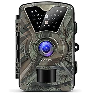 "Victure Trail Camera 1080P 12MP Wildlife Camera Motion Activated Night Vision 20m with 2.4"" LCD Display IP66 Waterproof Design for Wildlife Hunting and Home Security"