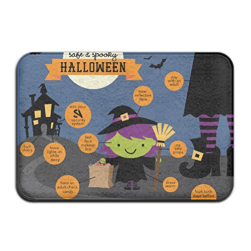 Novelty Design Custom Halloween Safety Tips Doormat Entrance Mat Floor Mat Rug Indoor/Front Door/Bathroom/Kitchen And Living Room/Bedroom Mats Rubber Non Slip (16