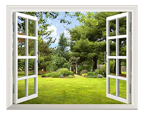 (wall26 Removable Wall Sticker/Wall Mural -Beautiful Garden View Out of The Open Window Creative Wall Decor - 24