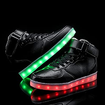 Denater Women High Top USB Charging LED Glow Shoes Flashing Sneakers