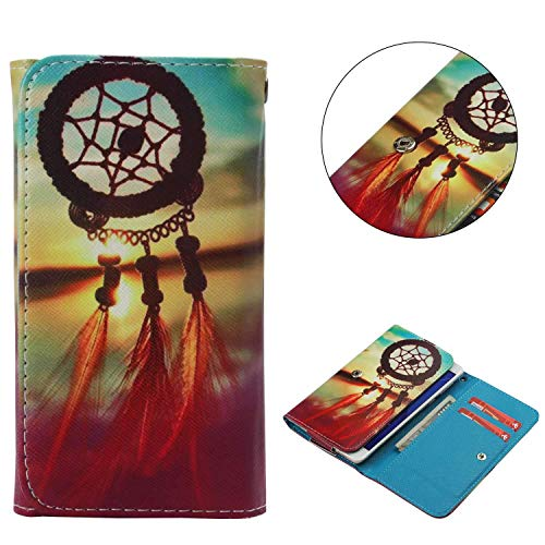 "Universal Cell Phone Flip Case, JULAM PU Leather Skin Protective Folio Case Cover Wallet Bag Card Slots Compatible LG G Stylo G4 Stylus 4G LS770 H631 F560K 5.7"" More (Sunset Dreamcatcher)"
