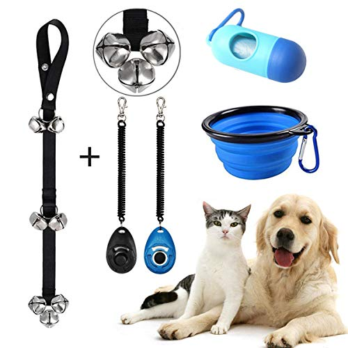 SEROUNY Dog Doorbells Sets Training Potty Great Dog Bells Adjustable Door Bell Puppy,One Dog Waste Bag Dispenser and Two Dog Training Clicker,Travel Pet Cat Dog Bowl SNPet028