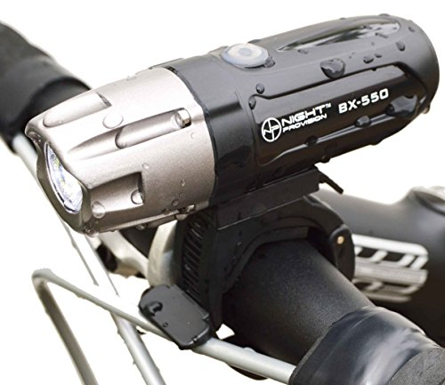 Night Provision BX-550 USB Bike Light - Front L2 LED Headlight - 550 Lumens MAX - Rechargeable Bicycle Lights