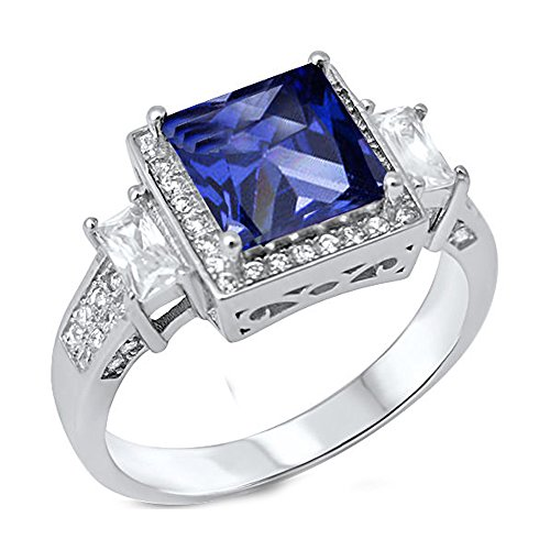 5.50ct Princess Cut Simulated Simulated Tanzanite & Cubic Zirconia .925 Sterling Silver Ring Size 6