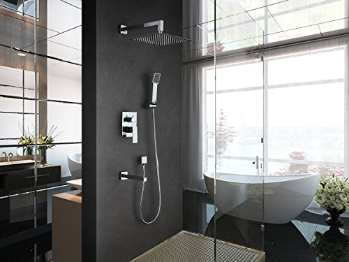GAPPO Luxury Rain Shower System Kit with Handheld Shower and Tub Spout Tap Polished Chrome by GAPPO (Image #2)