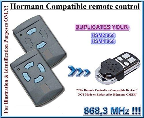 Hormann HSM2 868 / Hormann HSM4 868 Compatibile Telecomando / CLONE, 4-canali 868,3Mhz fixed code sostituzione radiocomando. (Non è compatibile con BS BiSecur trasmettitori) Hörmann replacement remote / clone