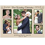 LifeSong Milestones Personalized Wedding Photo Frame for Bride & Groom Picture Frame Holds 2-4x4 Photo & 1-8x10 & 2-4x6 Photos Our Wedding Celebration (Ivory)