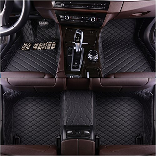 Okutech Custom Fit XPE Leather 3D Full Surrounded Waterproof Car Floor Mats for Cadillac CT6 (Cadillac CT6, Black with black stitching)