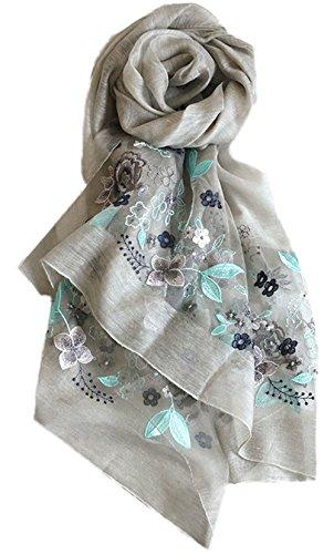 ultravioleta Verano 1 Playa Todo 5 Gris Mujer de anti Tulle bufanda seda bordado Bufanda Turismo 8BBfw7q