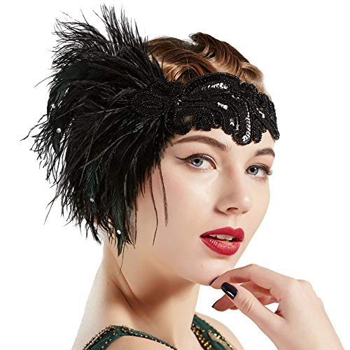 Roaring 20s Headpieces (BABEYOND 1920s Flapper Headband Vintage Black Feather Headpiece with Sequin Beads Roaring 20s great Gatsby Hair Accessory for Party)