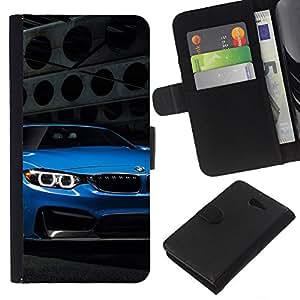 LECELL--Cuero de la tarjeta la carpeta del tirón Smartphone Slots Protección Holder For Sony Xperia M2 -- Auto azul --