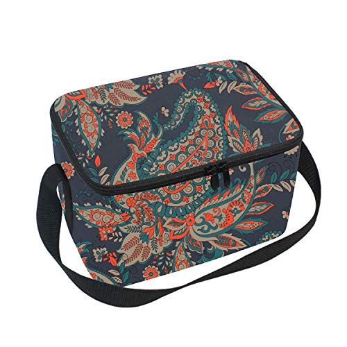 Phoenix Flower Lunch Tote Insulated Thermal Lunch Bag Waterproof Carry Case with Zipper