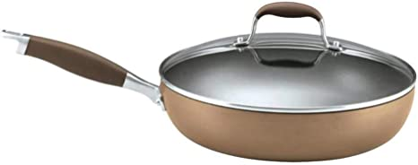 Amazon Com Anolon Advanced Hard Anodized Nonstick 12 Inch Deep Frying Pan With Glass Lid Nonstick Skillet 12 Inch Bronze Kitchen Dining
