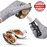 Cranado Oyster Shucking Knife Set with Effortless Ergonomics Handle Full Tang Blade and a Pair of Anti-cut Gloves