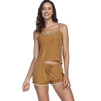 4a9633264f36 Save 15% Anewoneson Women s Sexy Sling Lingerie Satin Pajamas Cami Shorts  Set Pajamas Khaki