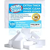 (100 Pack) Extra Large Magic Cleaning Eraser Sponge - 2X Thick, 2X Longer Lasting Melamine Sponges in Bulk - Multi Surface Power Scrubber Foam Pads - Bathtub, Floor, Baseboard, Bathroom, Wall Cleaner