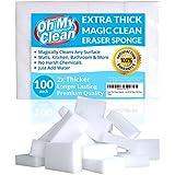 (100 Pack) Extra Large Magic Cleaning Eraser Sponge - 2X Thick, 2X Longer Lasting Melamine Sponges in Bulk - Multi Surface Power Scrubber Foam Pads - Bathtub, Floor, Baseboard, Bathroom, Wall Cleaner