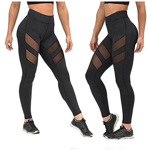 Yoga-Ghette-Sharondar-Maglia-donna-vita-alta-pantacollant-Sexy-del-Patchwork-Push-Up-Yoga-pantaloni