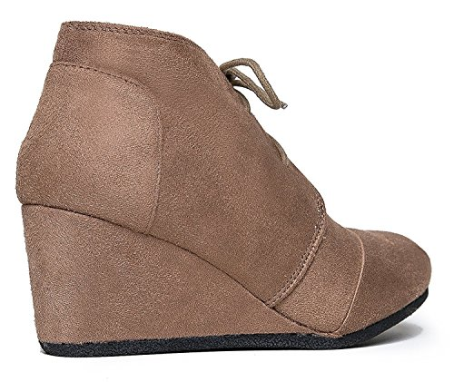 Suede Wedges Womens Bootie Rex Lace Taupe Albert Charles up FO4qn