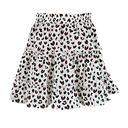 Shorts Skirt for Women,SMALLE◕‿◕ Women Floral High Waist Drawstring Ruffle Flared Boho A-Line Plea Skater Mini Skirt White