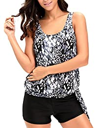 Women Two Piece Swimsuits Printed Slimming Tankini Tops Boyshort Set(S-XXXL)
