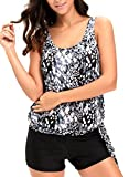 Alvaq Women Two Piece Swimsuits Printed Push Up Racerback Tankini Tops With Boyshort Plus Size XX-Large Black