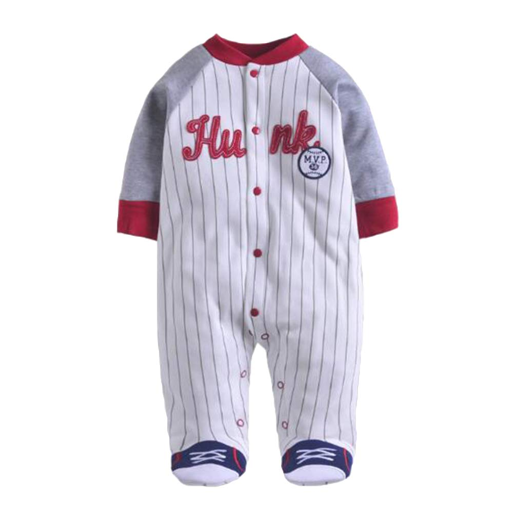 Hibote Baby Boy Clothes Long Sleeved Jumpsuit Soft Cotton Baby Pagliaccetti Baseball Uniform New Born Baby Clothes B180915BR9-X