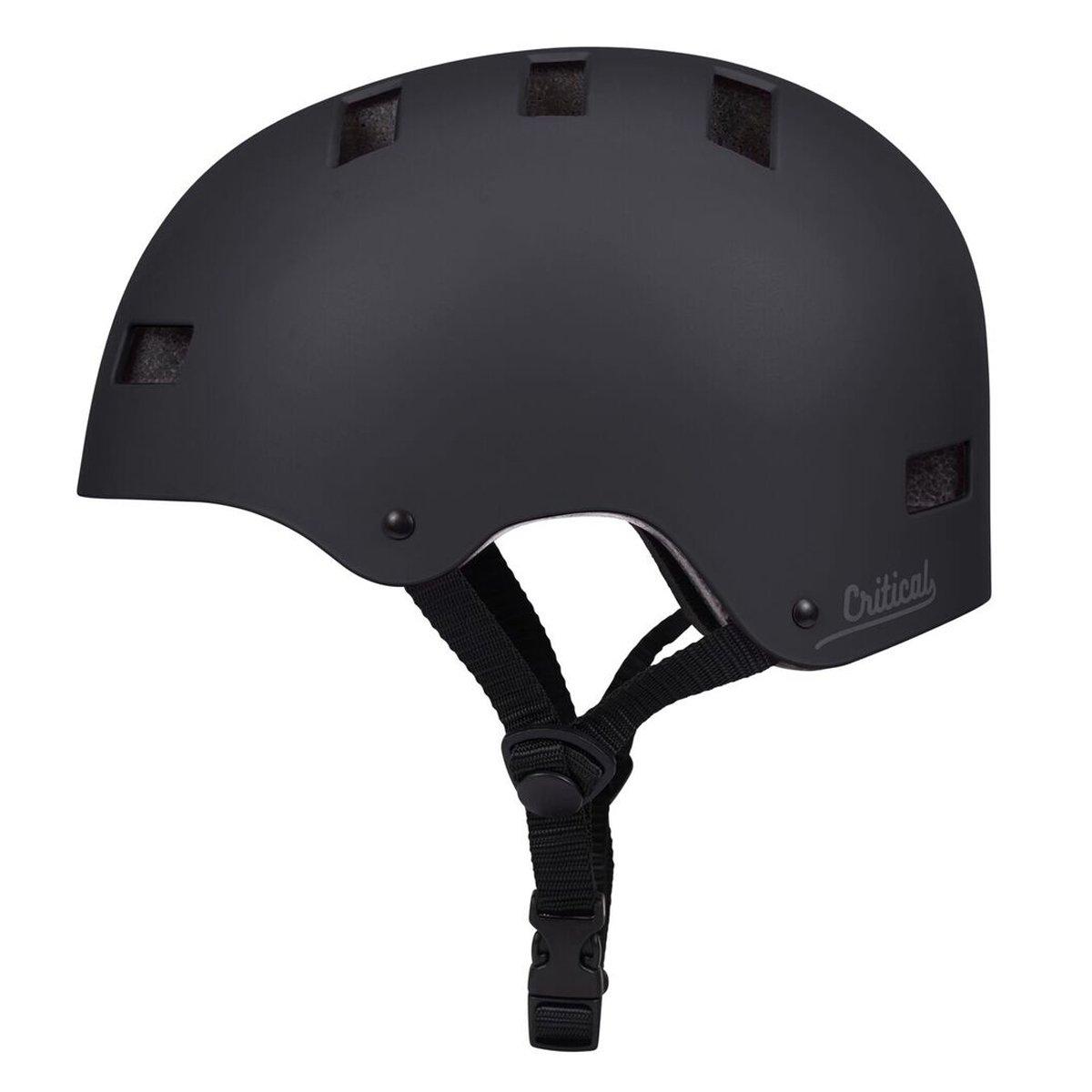 Critical Cycles 2445 Klassischer CM1 Helm mit 8 Belüftungsöffnungen, Pendlerrad Skate mehrere Sportarten - Mattes Schwarz, S 51-55 cm