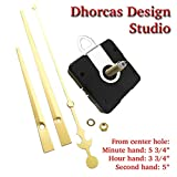 Dhorcas (#02) 3/4'' Threaded Motor and Gold 6'' Hands and Hanger, Quartz Clock Movement Kit for Replacement