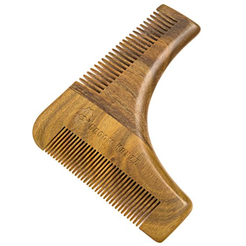 Sandalwood Beard Shaping Tool & Comb by Groom Houzz - Beards Shaper, Styling Template, Grooming Guide for Men - Facial Hair Trimmer for Jaw Line, Cheek, Neck & Goatee - - Mens Trends Hair Facial
