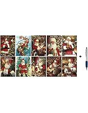 50 Kerst- en Nieuwjaarskaarten met Pen- 10 Dessins - dubbele Kerstkaarten met enveloppen - serie Santa