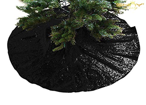 Sequin Tree Skirt 24Inch Christmas Tree Skirt Embroidered Sparkly Black Xmas Tree Ornament Christmas Decoration for Gift Ready to Ship -