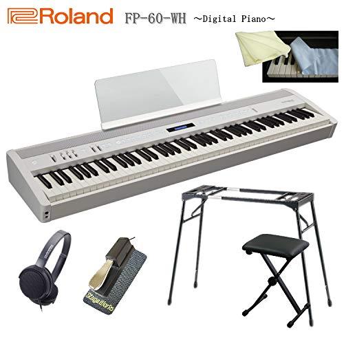 ローランド 電子ピアノ FP-60 ホワイト/Roland【テーブル型スタンド/ペダル/滑り止め/ヘッドフォン/キーボード椅子/キーカバー&クロス付き】   B07P7BLGV3