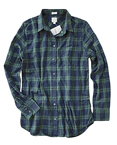 J. Crew Factory - Women's Boy Fit - Plaid Flannel Shirt (Large, Green/Navy) from J.Crew