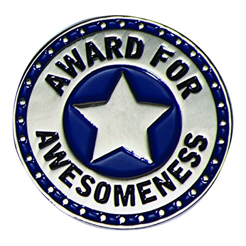 (Award for Awesomeness Blue and Silver Appreciation Award Lapel Pins, 12 Pins)