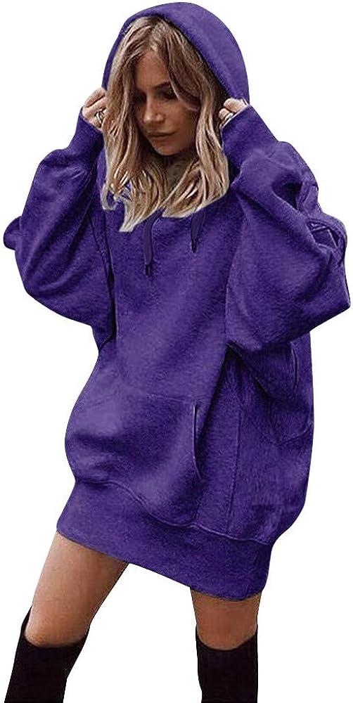 Reasoncool Damen Kapuzenpulli Einfarbig Kapuzenpullover Baumwolle Kleidung Lose Oberteil Luftige Sweatshirt Eingewickelt H/üfte Lange Mantel Warm Outwear Kordelzug und Taschen Hoodies