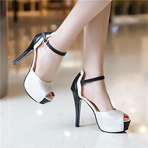 YE Damen Ankle Strap Sandalen Peep Toe Stiletto High Heels Plateau mit Schnalle und 12cm Absatz Elegant Schuhe Weiß