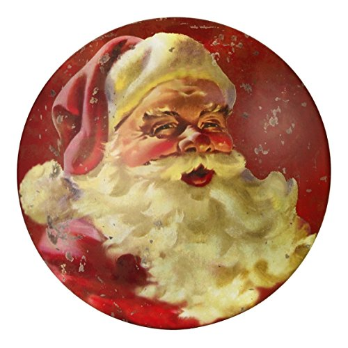Wall Santa Claus (TreasureGurus, LLC Classic Red Vintage Santa Claus Round Tin Dome Sign Christmas Decoration Home Wall Decor)