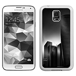 Fashion Custom Designed Cover Case For Samsung Galaxy S5 I9600 G900a G900v G900p G900t G900w Phone Case With Black And White City Office Buildings_White Phone Case