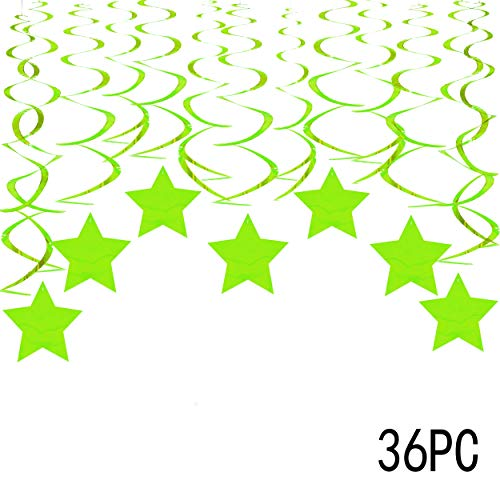 - Green Stars Hanging Swirls Decorations - St. Patrick's Party Ceiling Hangings Garlands Jungle safari Animals Dinosaur Baby Shower Birthday Party Favors Decorations, 36Ct