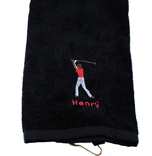 Personalized Golf Towel for men Custom Embroidered with Hanging Ring for Birthday Fathers Day Gift (Black)