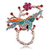 TUSHUO Vivid Birds Inlaid with Colorful Rhinestone Perched On The Branches Design Magnetic Eyeglass Holder (Rose Gold)
