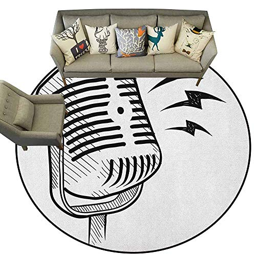 Modern Rugs,Doodle,Retro Microphone Communication and Media Concept Radio Show Speech Talk Podcast, Black White,for Living Room Bedroom Kids Room Nursery,4.6