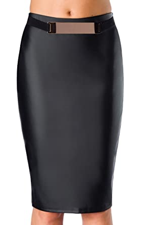 bae6ab073f49 Schwarzer kunstelder Bleistiftrock mit Gürtel dehnbar elastisch Knielang Damen  Rock in Lederoptik L XL