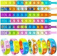 12PCS Push Pop Fidget Toy Fidget Bracelet, Durable and Adjustable, Multicolor Stress Relief Finger Press Brace