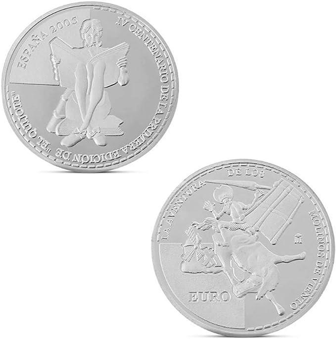 Ccyyy Moneda Antigua Moneda Moneda Conmemorativa del Molino de Viento de la UE España Don Quijote Guerra Colección de Monedas de Regalo, Bronce 35MM: Amazon.es: Hogar