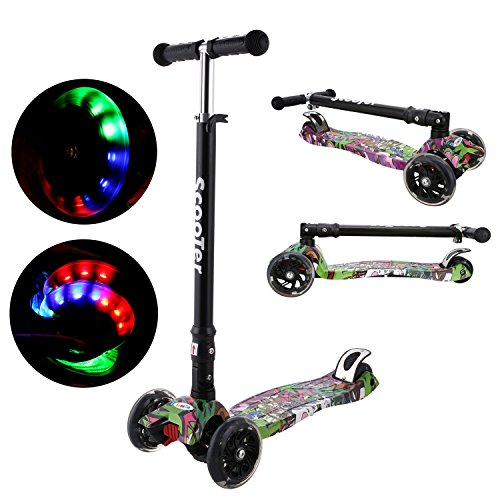 Nice ANCHEER Kick Scooter for Kids 3 Wheels, Adjustable Height Kids Scooter LED Light Flashing PU Wheels, Scooter for Boys and Girls 3-12 MG free shipping